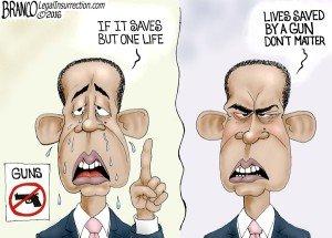 But one life - A.F. Branco political cartoon on gun control
