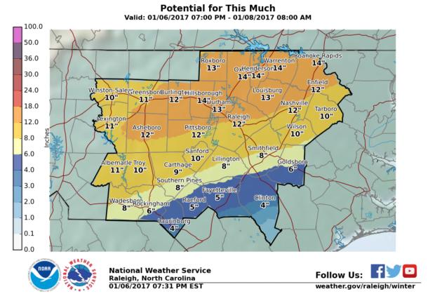 NWS Snow forecast North Carolina - Max
