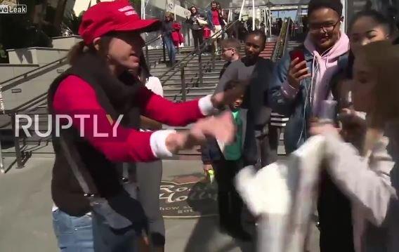 Liberals get violent in Hollywood Oscar boycott rally