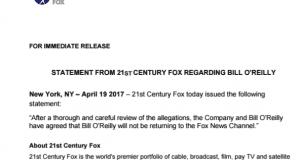 21st Century Fox statement Bill O'REilly