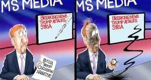 A Direct Hit - A.F. Branco political cartoon