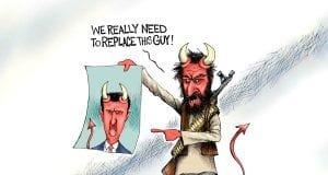 The Devil We Know - A.F. Branco political cartoon