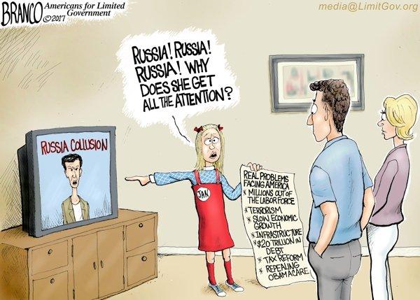 24/7 Russia Collusion media - A.F. Branco political cartoon