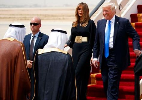 Donald Trump and Melania Trump Saudi Arabia Air Force One