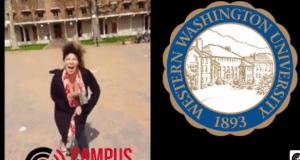 Girl screaming at Trump sign Western Washtington University
