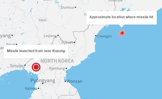 North Korea missile impact near Russia