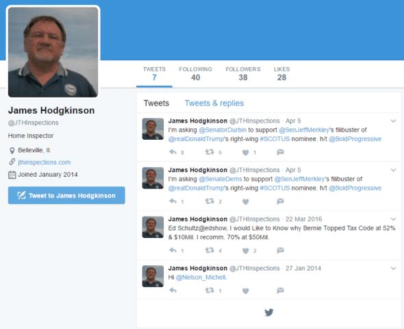 James Hodgkinson twitter page