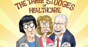 Three stooges - A.F. Branco editorial cartoon