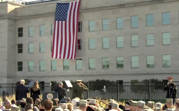 Donald Trump and Melania Trump Pentagon 9-11 remembrance national anthem