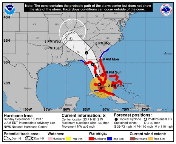 Irma cone and track 9-10 0200