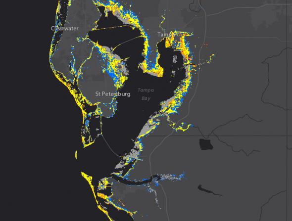 Irma storm surge map Tampa Bay 9-9 1400