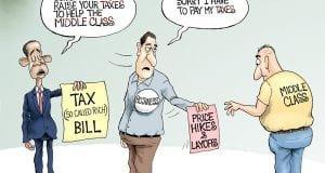 Trickle Down Taxation - A.F. Branco Cartoon