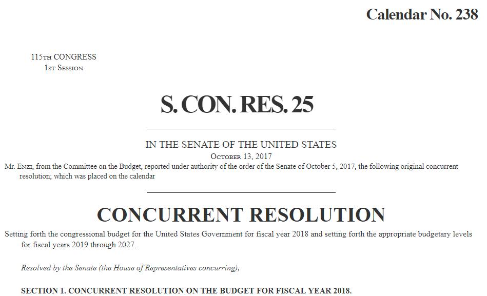 S.CON.RES.25 FY2018 Budget