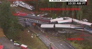 Amtrak crash Pierce County Washington 12-18-17 - full train aerial