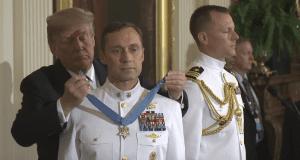 Donald Trump presents medal of honor to Britt Slabinski 5-24-18