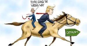 Galloping ahead - A.F. Branco political cartoon