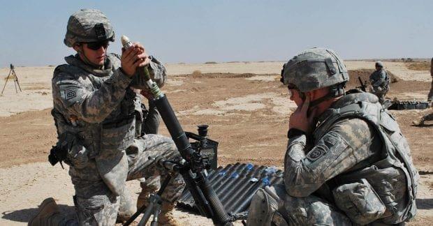 Army mortar team