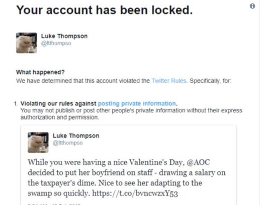 Photo of Twitter Locks Man's Account After Revealing Ocasio-Cortez's Boyfriend's Government Email Address