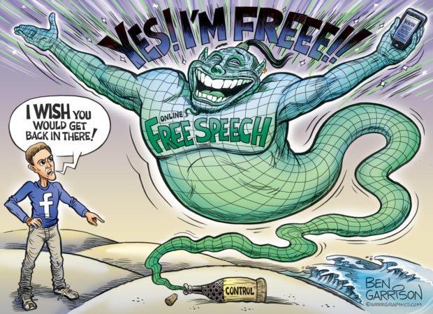 Photo of Free Speech Genie – Grrr Graphics – Ben Garrison Cartoon