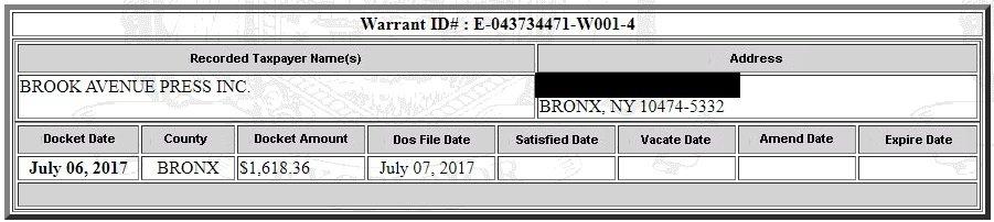 Brook Avenue Press Tax Warrant (Screenshot / New York State Department of State Tax Warrant Notice System)