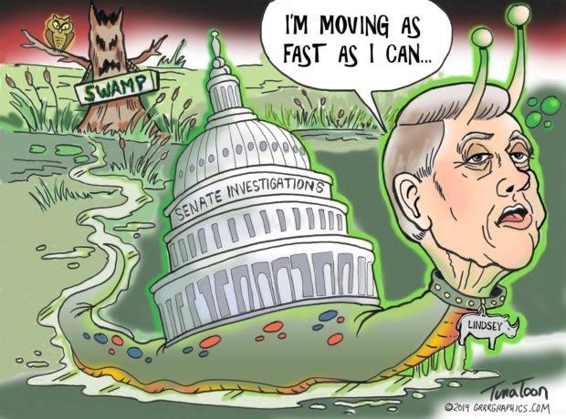 Photo of Lindsey Graham Do Nothing Swamp Snail – Grrr Graphics – Ben Garrison Cartoon