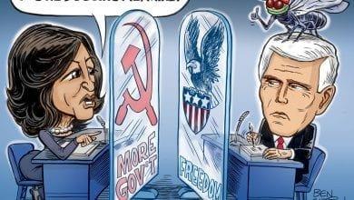 Photo of MAGA Fly and Pence Vs. Kamala Harris – Ben Garrison Cartoon